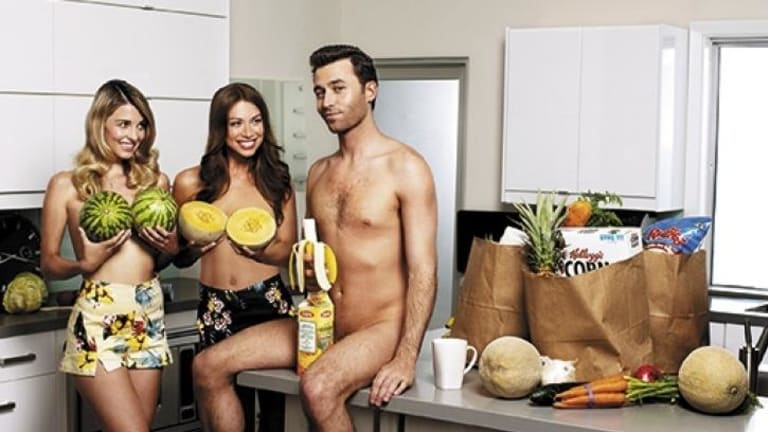 Naked lunch: Things get a little fruity  for James Deen.