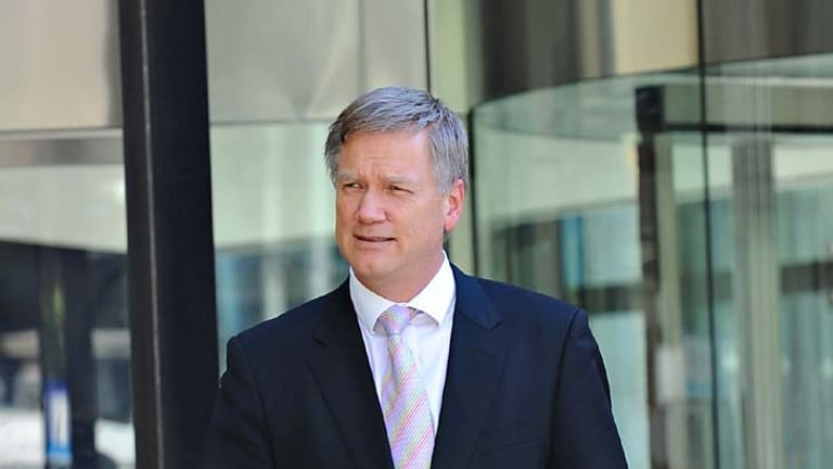 <em>Herald Sun</em> columnist Andrew Bolt leaves  court. He occasionally sighed heavily and looked annoyed as he gave testimony.