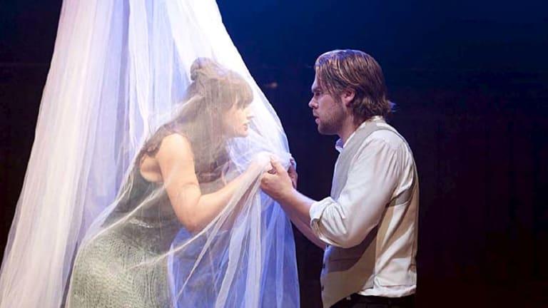 Fast pace … Jacki Mison (Miss Havisham) and Patrick Sherwood (Pip).