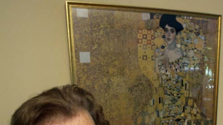 Reclaimed ... Maria Altmann at home in Los Angeles with a print of the Gustav Klimt painting of her aunt.