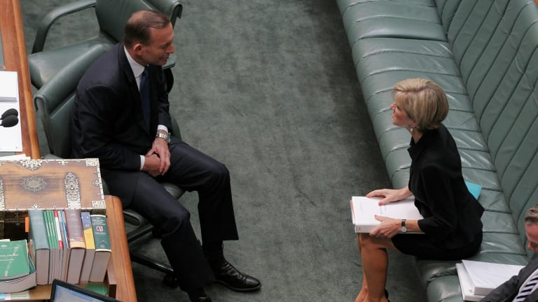 Prime Minister Tony Abbott and Foreign Affairs Minister Julie Bishop in discussion ahead of question time  on Tuesday.