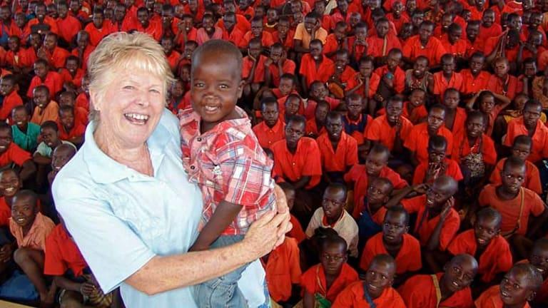 Irene Gleeson at the Chilcare Kitgum Servants School in Uganda in 2007.