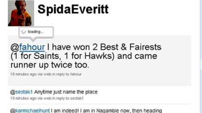 """A screengrab of Peter """"Spida"""" Everitt's Twitter feed this morning."""