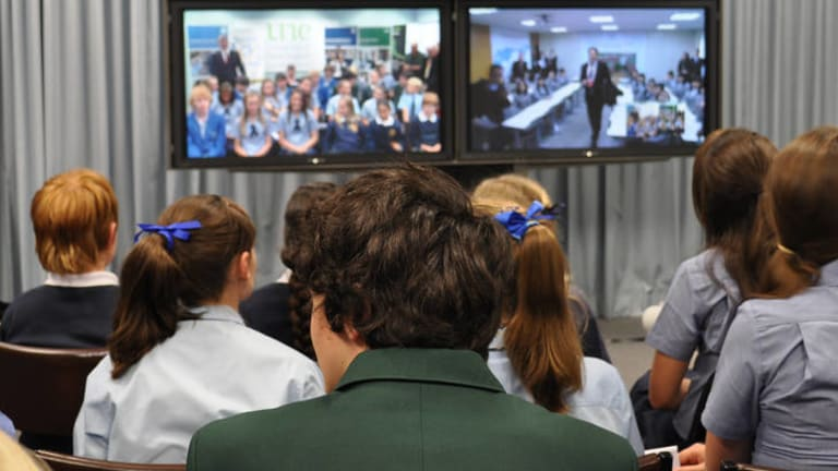 More schools might have to use videoconferencing, where students from different classes tune in to a real-time lesson being conducted by a teacher at another school.