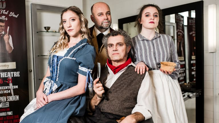 Sweeny Todd, The Demon Barber of Fleet Street. Presented by Dramatic Productions and directed by Richard Block. Demi Smith as Johanna, Gerard Fitzsimmons as Fogg, David Pearson as Sweeny Todd, and Meaghan Stewart as Mrs Lovett.