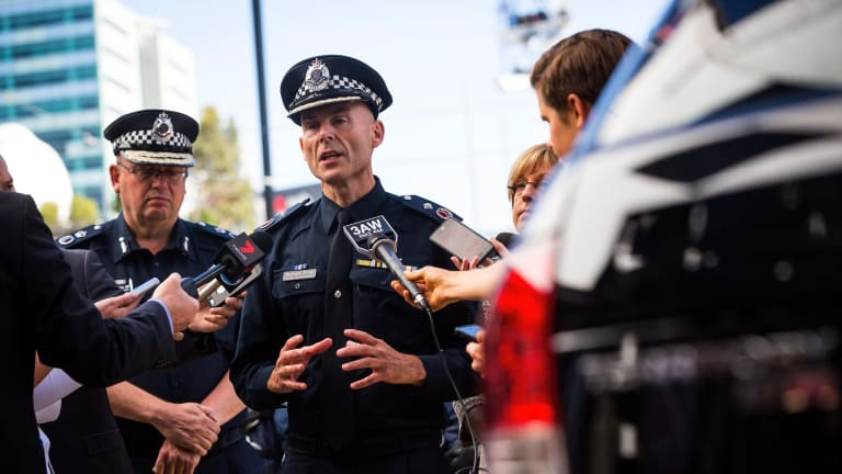 Deputy Commissioner Andrew Crisp speaks  at the launch of the new Public Order Response Team (PORT) vehicles on January 19 in Melbourne.
