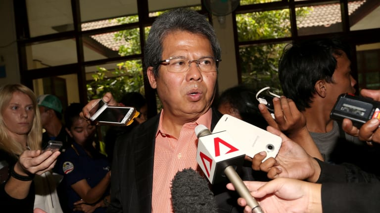 Todung Mulya Lubis talks to media on Tuesday after the Bali nine legal challenge on Tuesday.