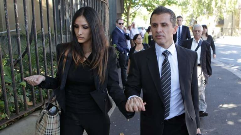 Simon Gittany with his girlfriend leaving the Supreme Court in Darlinghurst before the guilty verdict.