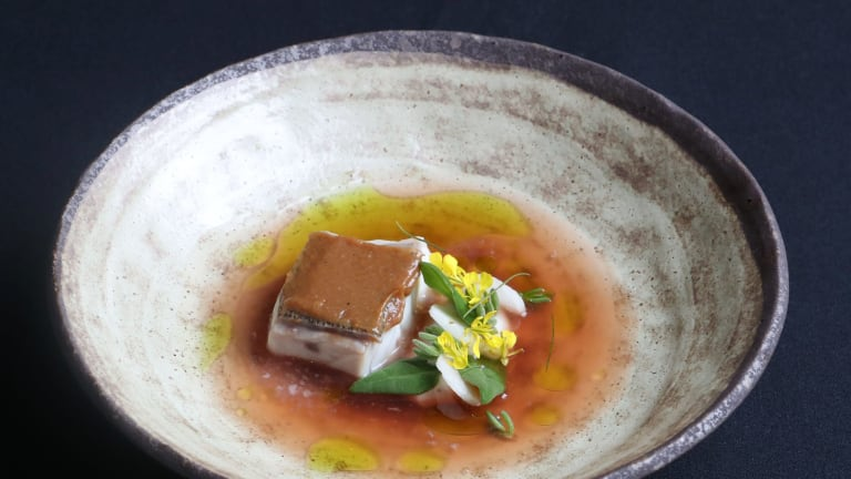 John Rivera's winning dish in the S.Pellegrino Young Chefs competition, Sinigang made using hapuka and tomato, calamansi and taro.