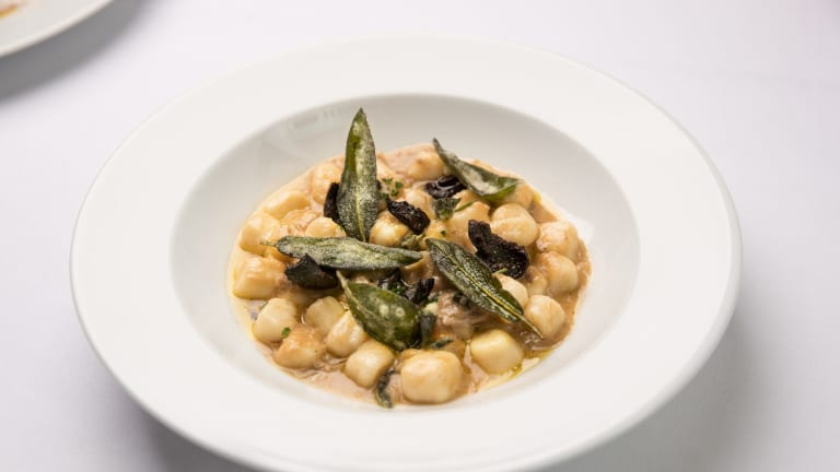 Gnocchi with olives and sage.