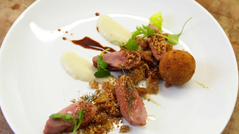 Cured and honey-glazed duck breast.
