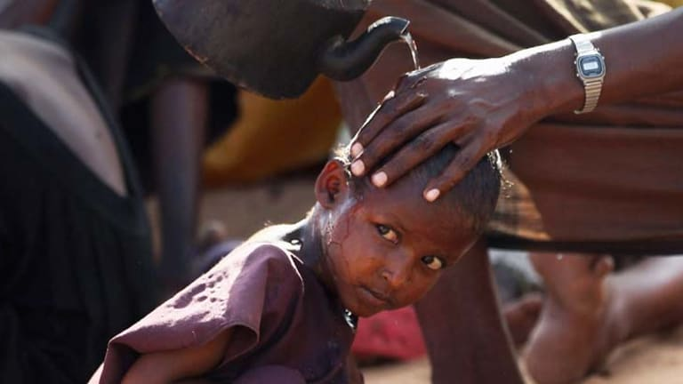 At risk … Somalis in camps as famine rages.