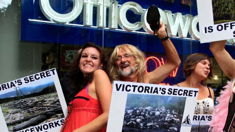 Wilderness Society protesters dressed in 'Victoria's Secret' lingerie earlier this month to expose Victoria's 'dirty little secret' – woodchipping native forests to make Reflex Paper that is sold in Officeworks.