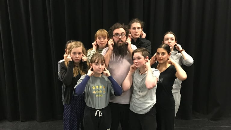 The Canberra Youth Theatre ensemble in Poem Every Day: from left, Isha Menon, Amber Spooner, Kitty Malam, Mia Tuco, Aram Geleris, Brenton Cleaves, Evonne Johnston, Stefanie Lekkas and Caitlin Baker. Photo: Canberra Youth Theatre.