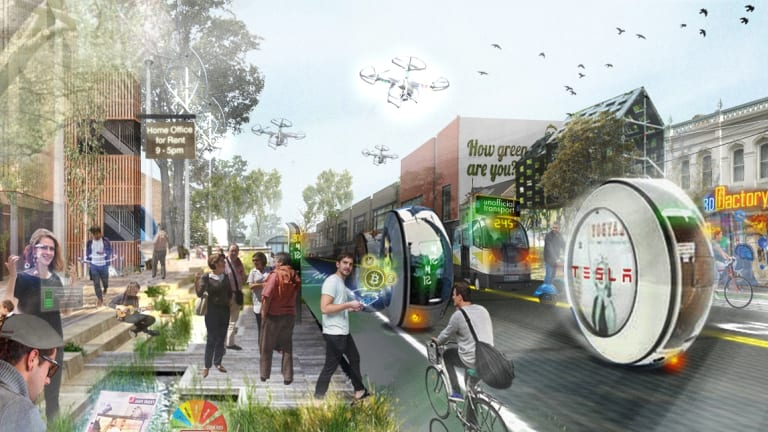 age news clay lucas story..14/3/2017 An image of what Melbourne would look like under a low-carbon plan presented by Melbourne University planning and environment experts. SOURCE: Melbourne University