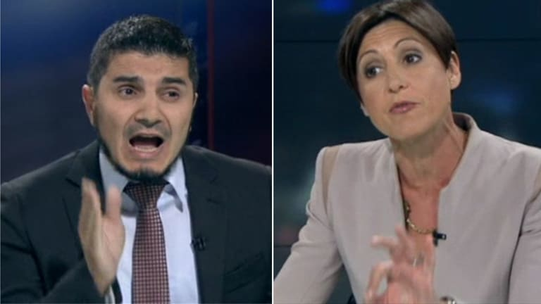 Heated: <i>Lateline</i> host Emma Alberici, right, grills Hizb ut-Tahrir spokesman Wassim Doureihi.