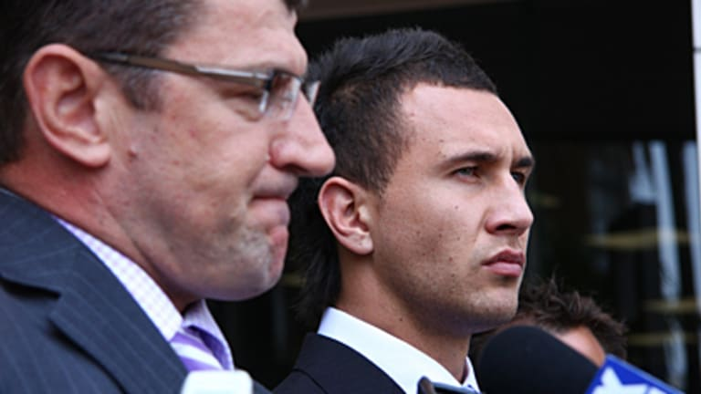 'The truth will prevail' ... Quade Cooper speaks to reporters outside court this morning.
