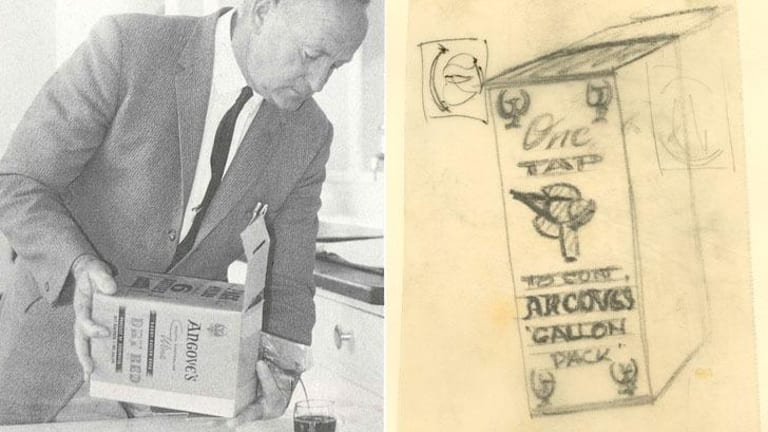 Bill Marshall, former employee at Angove's, pouring from an early wine cask. (R) A sketch of the early cask.