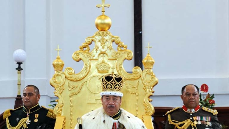King George Tupou V at his coronation in 2008.