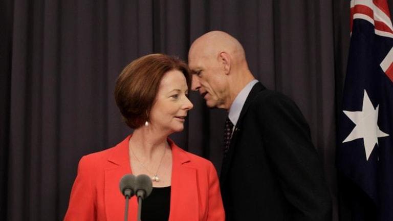 Julia Gillard and School Education Minister Peter Garrett at the Gonski review launch.