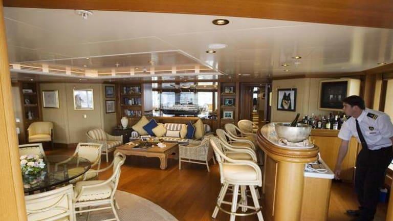 The cabin in Reg Grundy's yacht.