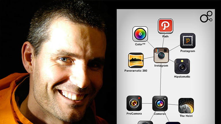 David McKinney and a screenshot of the Discovr app, which has taken the world by storm.