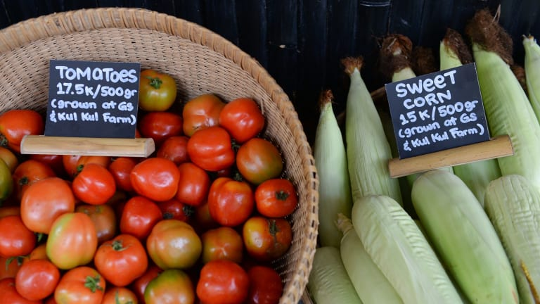 The school garden generates food that is sold at its on-site farmer's market.