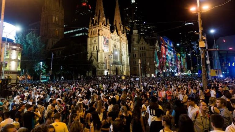 Foot traffic was kept moving along Swanston Street throughout the night.  Photograph Paul Jeffers The Age NEWS 21 Feb 2015