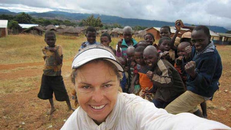 Kate Leeming with some of the people she met along the way.
