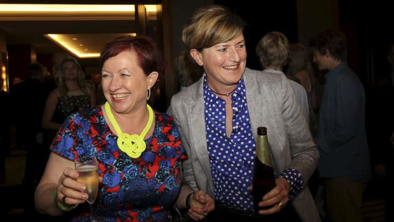 Christine Forster and Virginia Edwards celebrate the Coalition's victory in Sydney on the night of the federal election.