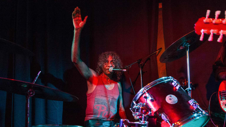 Bart Willoughby salutes the crowd at the end of the Lomond Hotel gig.