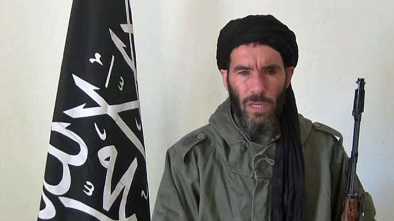 A still from a video obtained by a Mauritanian news agency reportedly shows  jihadist Mokhtar Belmokhtar speaking at an undisclosed location.