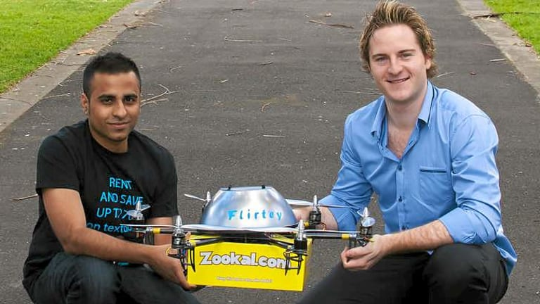 Zookal textbook rental service founder Ahmed Haider, 27, and founder of drone service Flirtey Matthew Sweeny, 26.