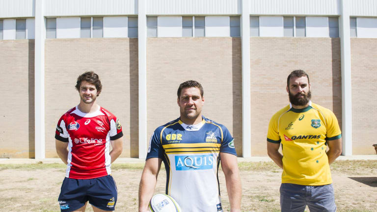 Josh Mann-Rea, centre, has re-signed with the Brumbies along with Sam Carter, left, and Scott Fardy, right.