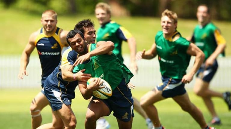Time to shine ... Kurtley beale at Wallabies' training.