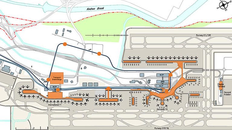 An artist impression of how the airport may look, including monorail.