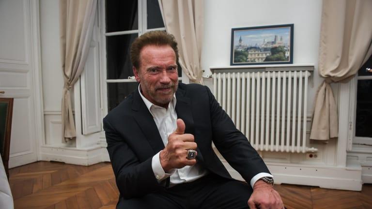 Former U.S. California Gov. Arnold Schwarzenegger at Sciences Po in Paris.