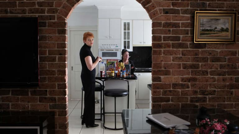 Into the melting pot … Pauline Hanson at the Sydney home of her friend Bev Wallice.