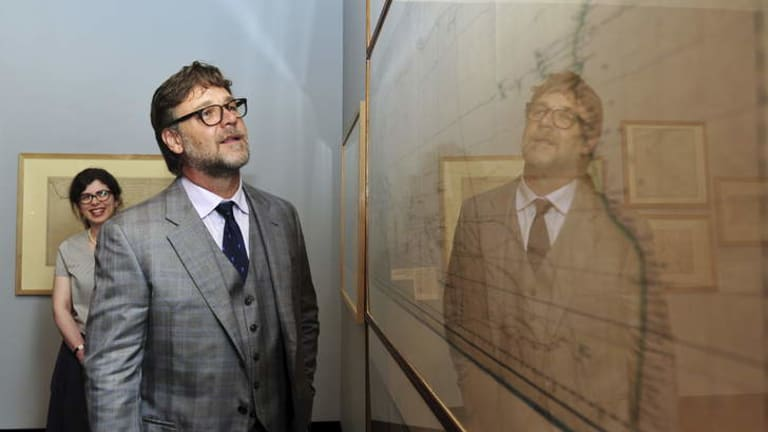 Russell Crowe at the opening of Mapping our World exhibition at the National Library, Canberra.