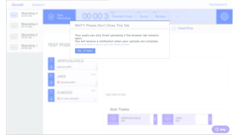After you've finished recording in Zencastr, each participant needs to keep the browser tab open while their recording uploads to Dropbox and the host can see the progress of each upload.