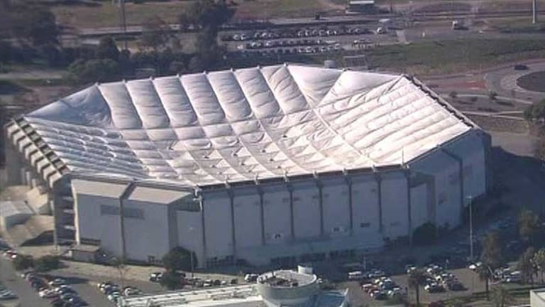 Perth's iconic Burswood Dome has been deflated.