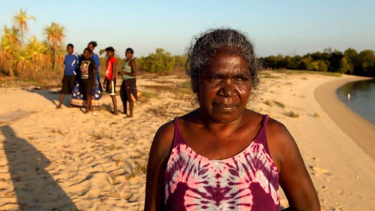 Yolngu anti-suicide campaigner Gayli Marika Yunupingu on the beach near her Eastern Arnhem Land home.
