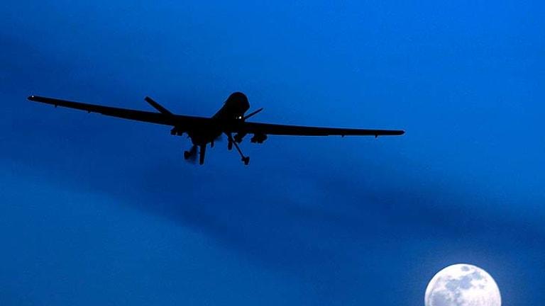 An unmanned Predator drone flies over Kandahar Air Field in Afghanistan.