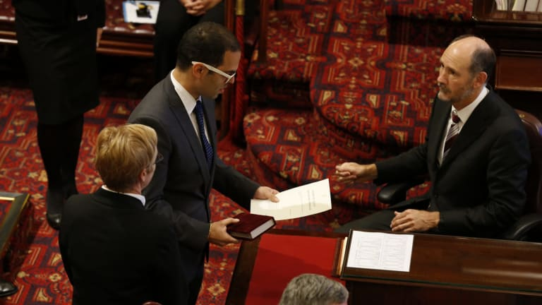 Newly appointed Upper House MP Daniel Mookhey is the first MP to be sworn into an Australian Parliament on the Hindu religious text The Bhagavad Gita.