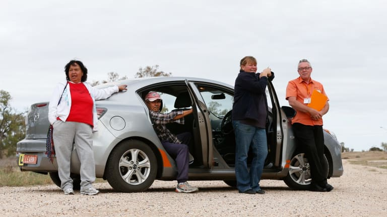 Driving instructor George Bullivant with students (from left)  Barbara Ashby,  Howard Kennedy, and Diane Walford.