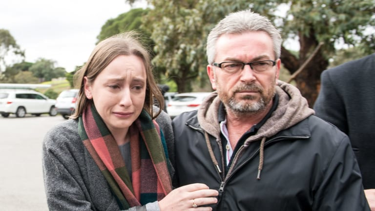 Karen Ristevski's daughter Sarah, and husband Borce after an appeal for public help to find the missing mother.