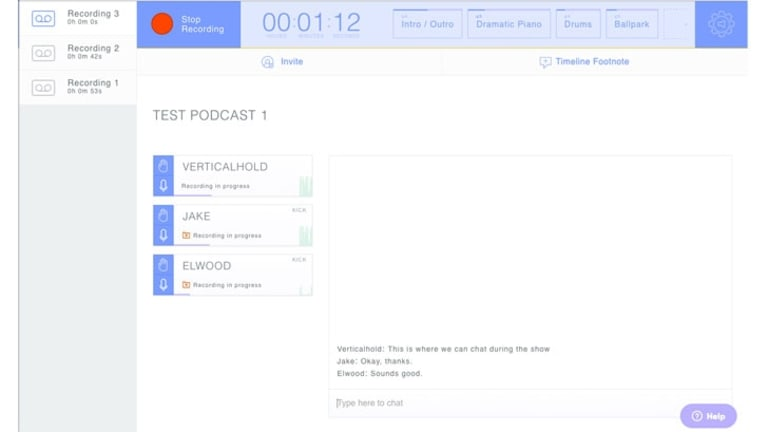 While you're recording in Zencastr the host can see everyone's levels and audio device and access the Live Editing Soundboard, plus participants can communicate via chat and press the Hand button when they have something to say.