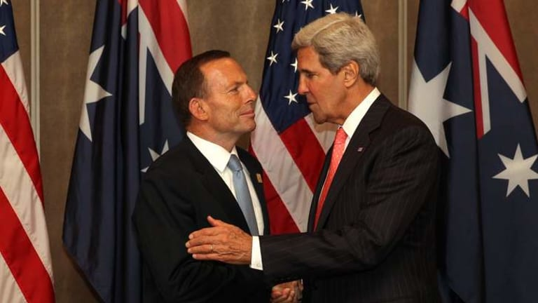 Prime Minister Tony Abbott meets with US Secretary of State John Kerry during a bilateral meeting, in Bali, Indonesia.