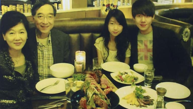 Before the tragedy: Henry Kwan with his sister Michelle and parents Vanessa and Stephen.