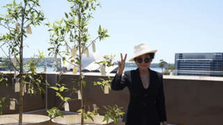 High hopes: Yoko Ono an enigmatic presence at the MCA installation, stands next to her Wish Tree.